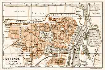 Ostend (Ostende) city map, 1909