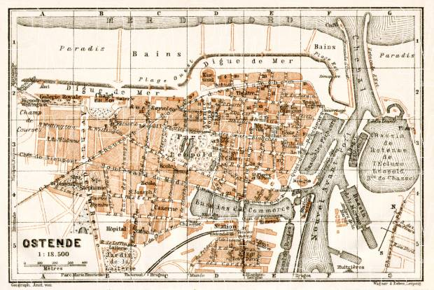 Ostend (Ostende) city map, 1909. Use the zooming tool to explore in higher level of detail. Obtain as a quality print or high resolution image