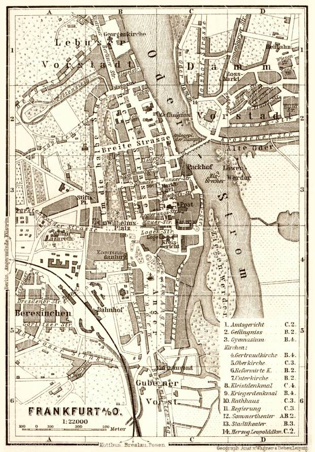 Frankfurt (Oder) city map, 1887. Use the zooming tool to explore in higher level of detail. Obtain as a quality print or high resolution image