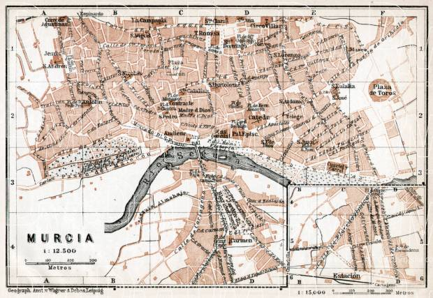Murcia city map, 1913. Use the zooming tool to explore in higher level of detail. Obtain as a quality print or high resolution image