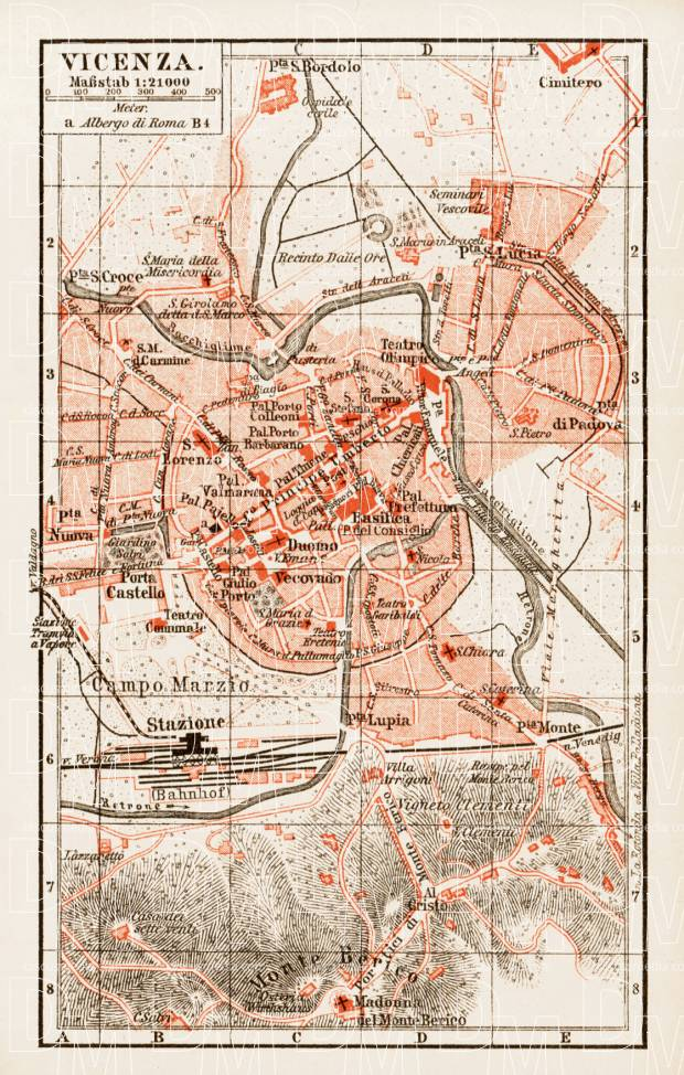 Vicenza city map, 1903. Use the zooming tool to explore in higher level of detail. Obtain as a quality print or high resolution image