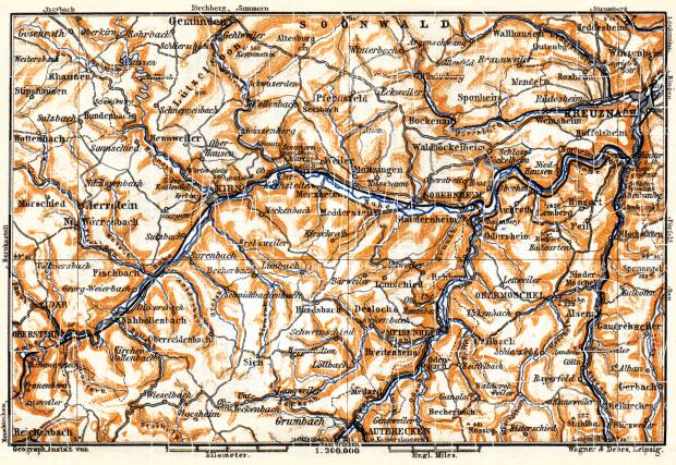 Nahe Valley. Kreuznach and environs map, 1905. Use the zooming tool to explore in higher level of detail. Obtain as a quality print or high resolution image