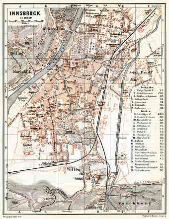 Innsbruck city map, 1910