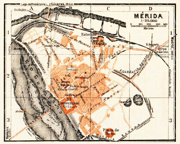 Mérida city map, 1929. Use the zooming tool to explore in higher level of detail. Obtain as a quality print or high resolution image