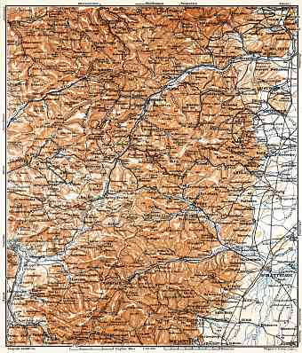 Central Vosges Mountains map, 1905