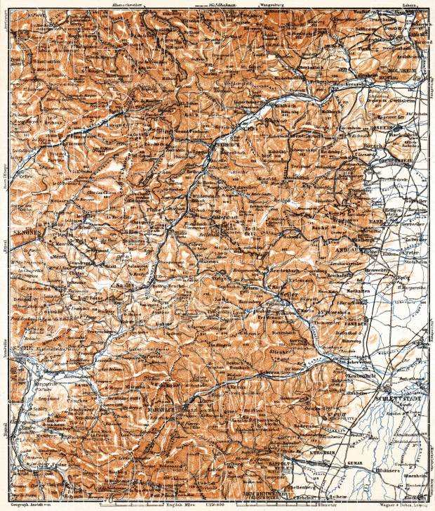 Map Of Germany Mountains.Central Vosges Mountains Map 1905