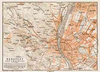 Budapest and its environs map, 1914