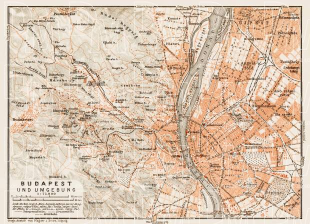 Old Map Of Budapest Vicinity In Buy Vintage Map Replica Poster - Vintage budapest map