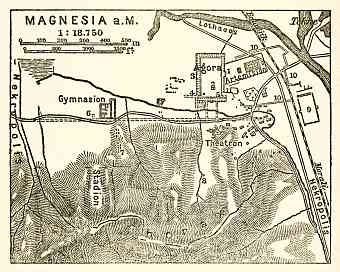 Magnesia on the Maeander, map of the ancient site, 1905
