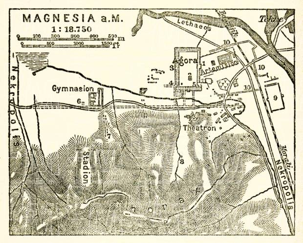 Magnesia on the Maeander, map of the ancient site, 1905. Use the zooming tool to explore in higher level of detail. Obtain as a quality print or high resolution image