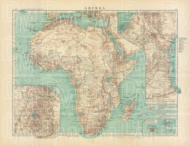 Africa Map (in Russian), 1910. Use the zooming tool to explore in higher level of detail. Obtain as a quality print or high resolution image