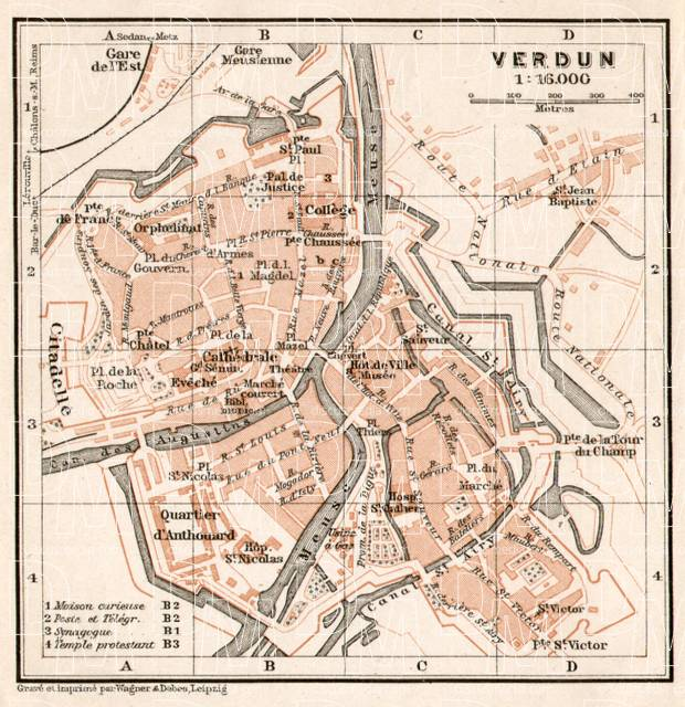 Verdun city map, 1909. Use the zooming tool to explore in higher level of detail. Obtain as a quality print or high resolution image