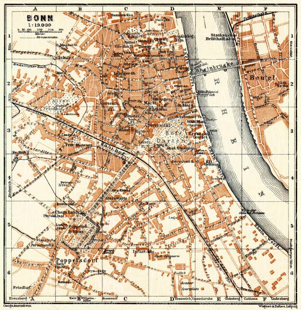 Bonn city map, 1905. Use the zooming tool to explore in higher level of detail. Obtain as a quality print or high resolution image