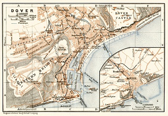 Dover, city map. Environs of Dover map, 1906