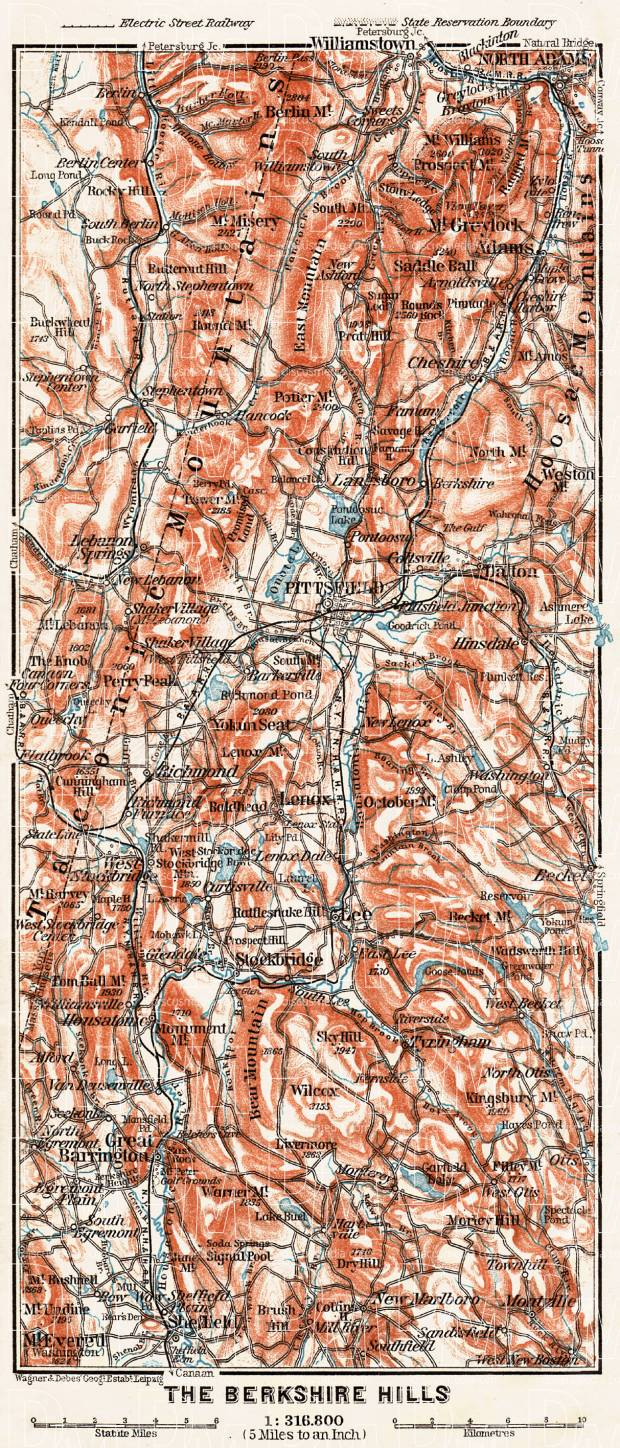 Map of the Berckshire Hills, 1909. Use the zooming tool to explore in higher level of detail. Obtain as a quality print or high resolution image