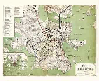 Helsingfors (Helsinki) city map with planned tramway network layout, 1898 (1901)
