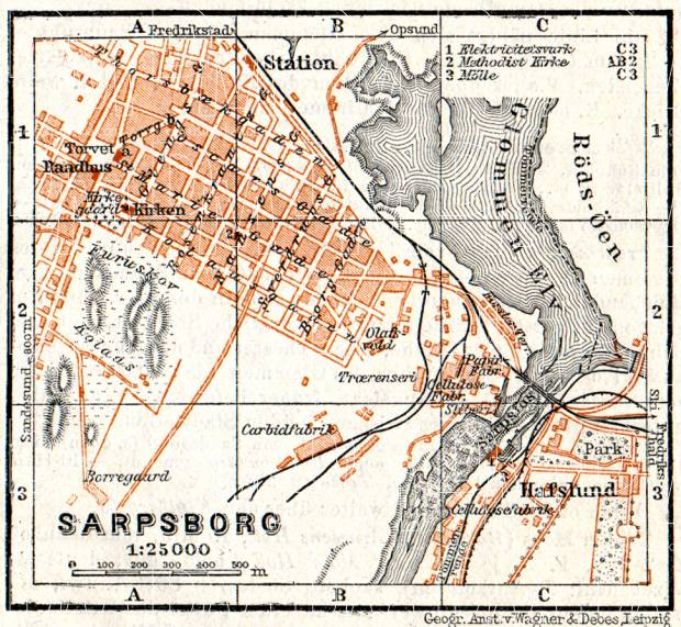 Sarpsborg city map, 1910. Use the zooming tool to explore in higher level of detail. Obtain as a quality print or high resolution image