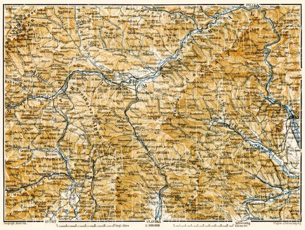 Map of the Steyr (Steirische) and Carinthian (Kärntner) Alps from Murau to Graz, 1906. Use the zooming tool to explore in higher level of detail. Obtain as a quality print or high resolution image