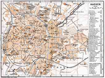 Aachen city map, 1905