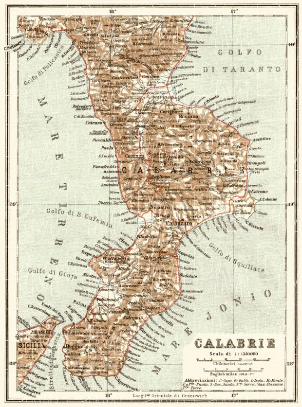 Calabria map, 1929. Use the zooming tool to explore in higher level of detail. Obtain as a quality print or high resolution image