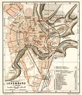 Luxembourg (Luxemburg) city map, 1909