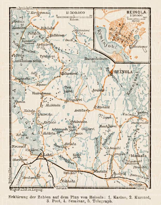 Old map of Heinola and Mankala rapids in 1929 Buy vintage map