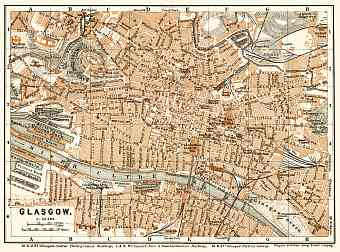 Glasgow city map, 1906