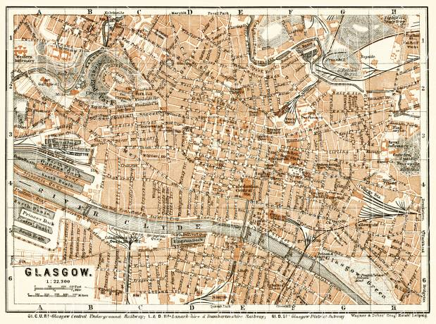 Glasgow city map, 1906. Use the zooming tool to explore in higher level of detail. Obtain as a quality print or high resolution image