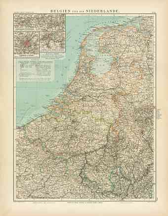 Belgium and the Netherlands Map, 1905
