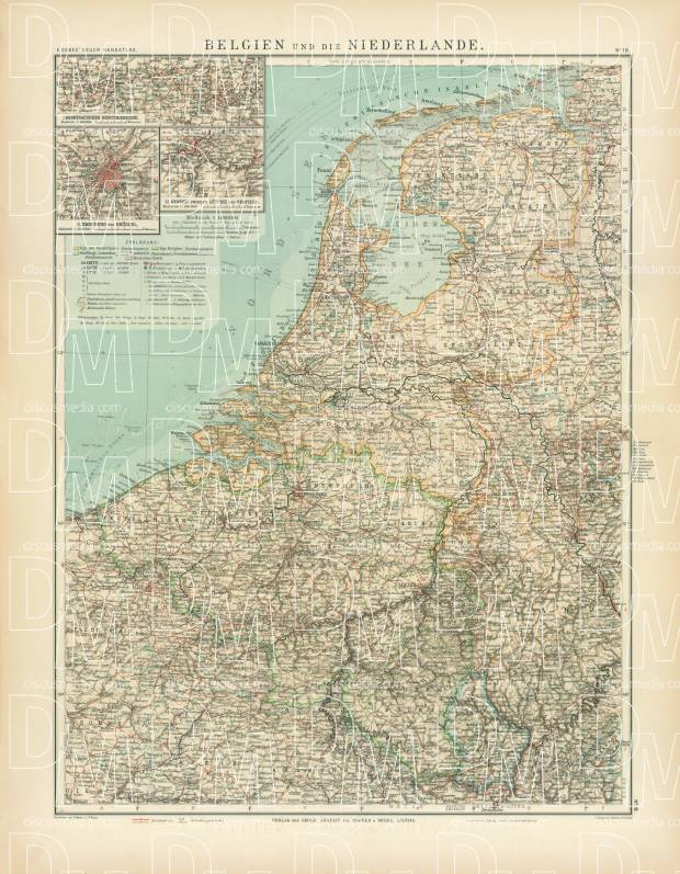 Belgium and the Netherlands Map, 1905. Use the zooming tool to explore in higher level of detail. Obtain as a quality print or high resolution image