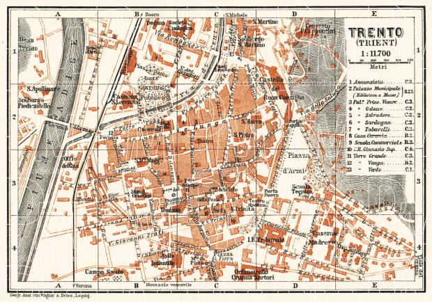 Trento city map, 1911. Use the zooming tool to explore in higher level of detail. Obtain as a quality print or high resolution image