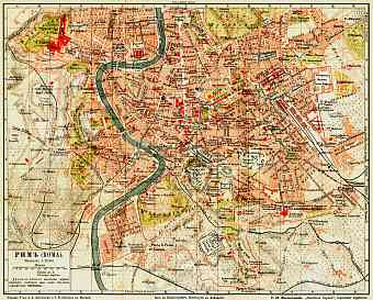 Rome (Roma) city map (legend in Russian), 1903