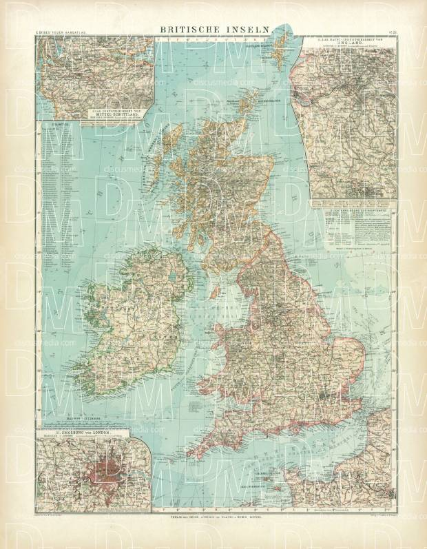 British Isles Map, 1905. Use the zooming tool to explore in higher level of detail. Obtain as a quality print or high resolution image