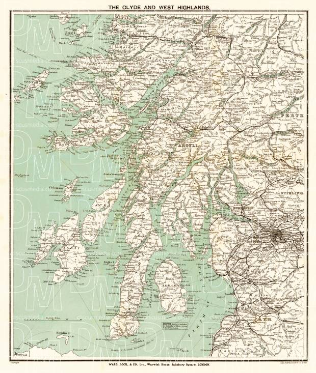 Clyde and the West Highlands map, 1909. Use the zooming tool to explore in higher level of detail. Obtain as a quality print or high resolution image