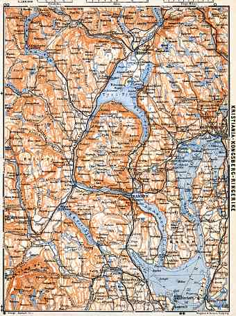 Christiania - Kongsberg - Ringerike district map, 1910