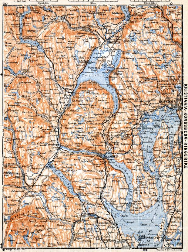 Christiania - Kongsberg - Ringerike district map, 1910. Use the zooming tool to explore in higher level of detail. Obtain as a quality print or high resolution image