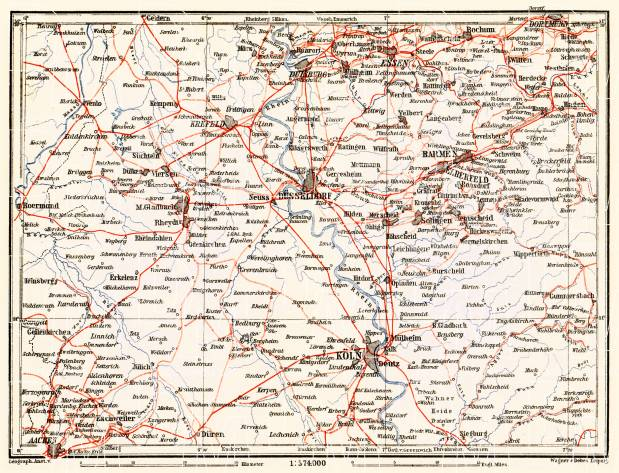 Railway map of Lower Rhine geographic area (Rhine-Ruhr bassin), 1905. Use the zooming tool to explore in higher level of detail. Obtain as a quality print or high resolution image