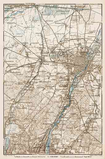 Map of the environs of Munich (München), 1909