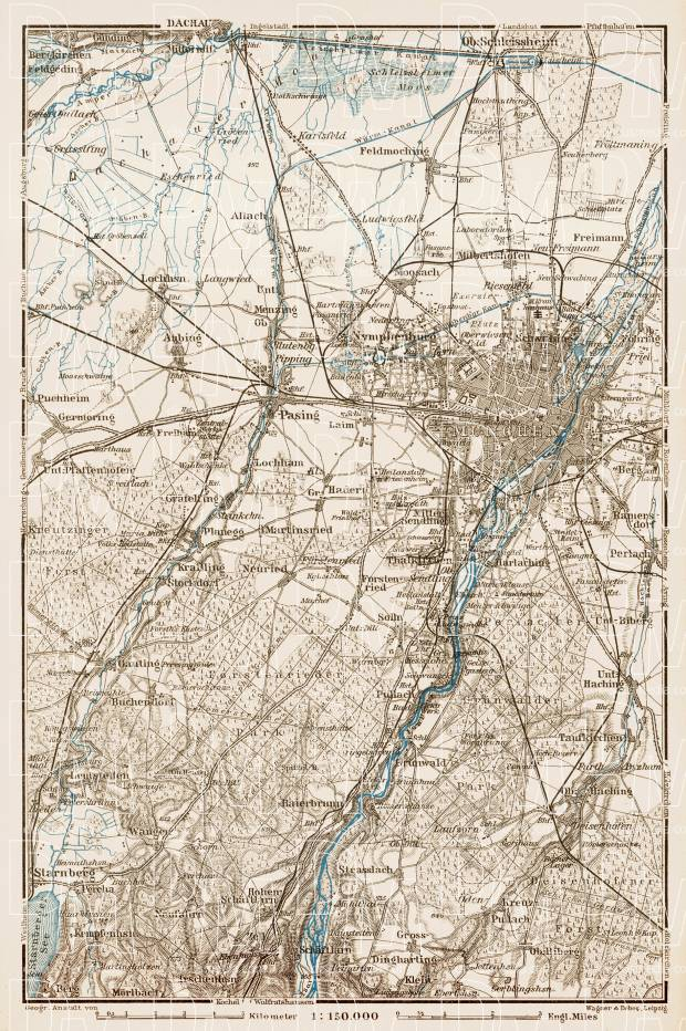 Map of the environs of Munich (München), 1909. Use the zooming tool to explore in higher level of detail. Obtain as a quality print or high resolution image