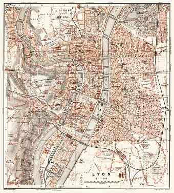Lyon city map, 1902