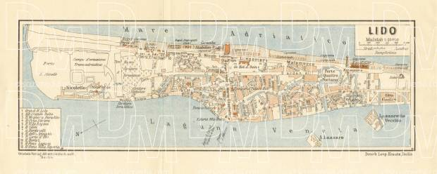 Lido of Venice (Lido di Venezia) town plan, 1929. Use the zooming tool to explore in higher level of detail. Obtain as a quality print or high resolution image