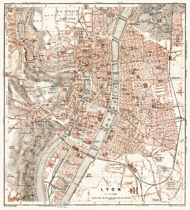 Lyon city map, 1902. Use the zooming tool to explore in higher level of detail. Obtain as a quality print or high resolution image