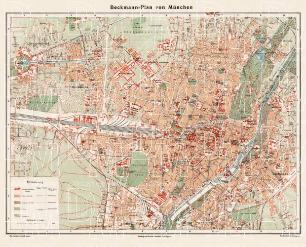 München (Munich) city map, 1910. Use the zooming tool to explore in higher level of detail. Obtain as a quality print or high resolution image