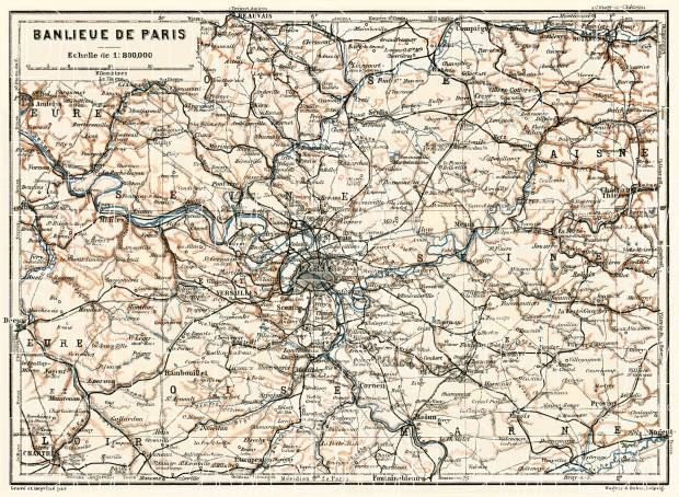 Paris region general map, 1913. Use the zooming tool to explore in higher level of detail. Obtain as a quality print or high resolution image