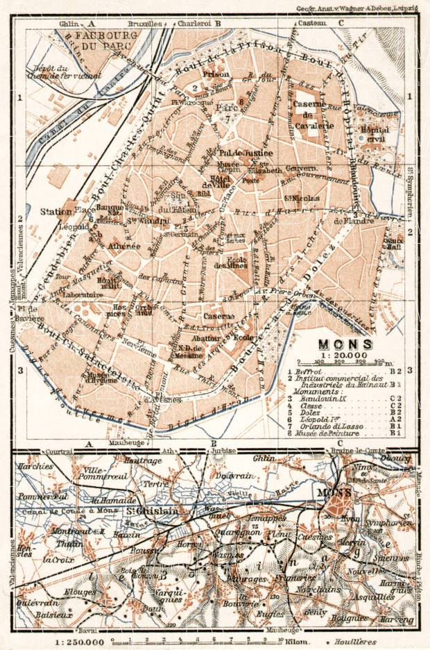 Old map of Mons and vicinity in 1909 Buy vintage map replica poster