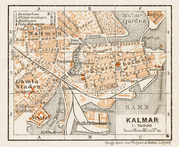 Kalmar town plan, 1929. Use the zooming tool to explore in higher level of detail. Obtain as a quality print or high resolution image
