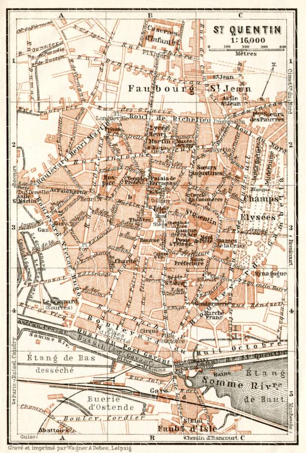 Old map of SaintQuentin in 1909 Buy vintage map replica poster