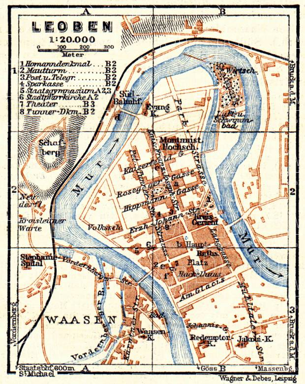 Leoben city map, 1911. Use the zooming tool to explore in higher level of detail. Obtain as a quality print or high resolution image