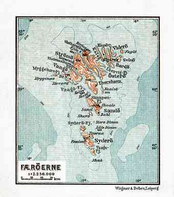 Faroe Islands (Færøerne) map, 1931