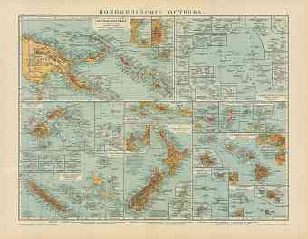 Polynesian Island Groups Map (in Russian), 1910